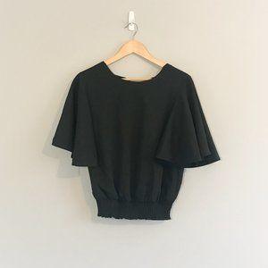 Black Flowy Sleeve Blouse